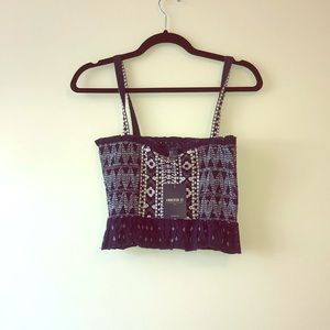 Blue-patterned Crop top